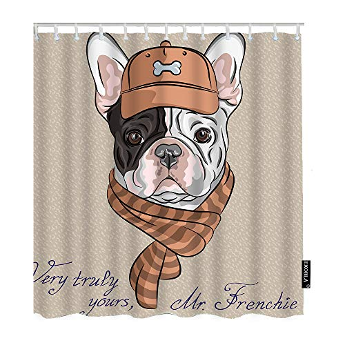 EKOBLA French Bulldog Shower Curtain Very Truly Yours Mr.Frenchie Hipster Brown Cap Scarf Animal 60x72 Inch