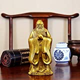 WOREX Yellow Pure Copper Confucius Statue Ornaments Pure Copper Hole sage Large Home Student Study Decoration WholesaleSpecial Small high 95 mm
