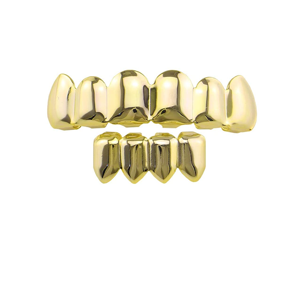 悪用マイルド自己尊重光沢のあるヒップホップの歯ヨーロッパとアメリカのジュエリーゴールドメッキゴールドブレースユニセックスファッションヒップホップの歯ジュエリー装飾銅歯ブレースハロウィーンの装飾,B