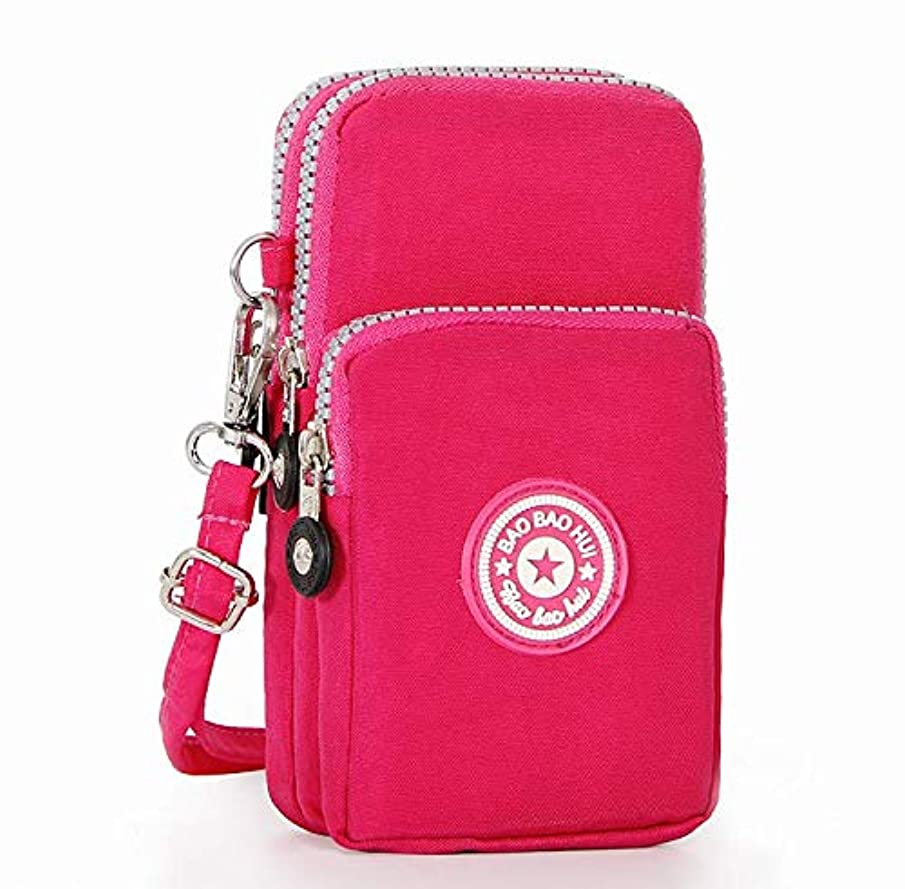 Multi-Functional 3-Layers Sport Running Armband Wrist Wallet Crossbody Bag Phone Purse Compatible iPhone Xs Max / 8 Plus/Galaxy Note 9 / S9 Plus / S8 Active/LG G7 ThinQ/Stylo 4 (hot Pink)