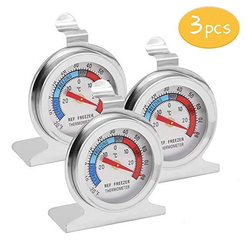 Koelkast Thermometer Koelkast Thermometer, INRIGOROUS Pack van 3 RVS Wijzerplaat Koelkast/vriezer Thermometer met Ophanghaak en Intrekbare Stand (Wijzerplaat stijl)