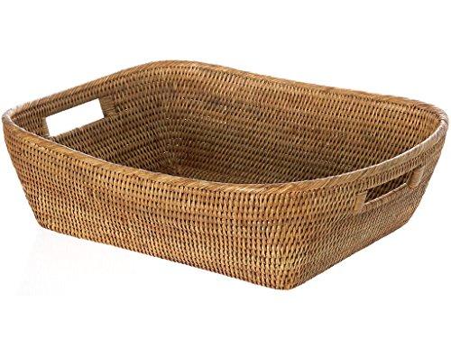 KOUBOO 1060076 La Jolla Oblong Rattan Storage and Shelf Basket, 19' x 15' x 5', Honey-Brown