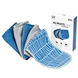 """S&T INC. Always Off Reusable Makeup Remover cloths, 6"""" X 12"""", Solid and Print, 5 Pack"""