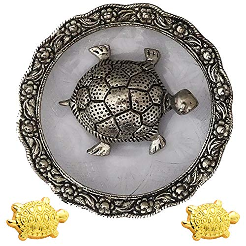 Divya Mantra Japanese Lucky Charm Money Turtle Pair Home Decor Statue & Chinese Feng Shui Metal 4 Inch Tortoise with 5.5 Inch Water Plate; Vastu Living, Wealth, Health, Good Luck Set - Gold, Silver