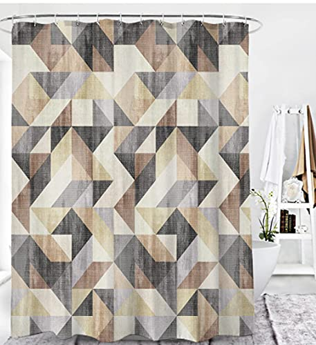 Bathroom Shower Curtain Geometric Abstract Triangle Grey Black White Yellow Pattern Polyester Fabric Shower Curtains Waterproof