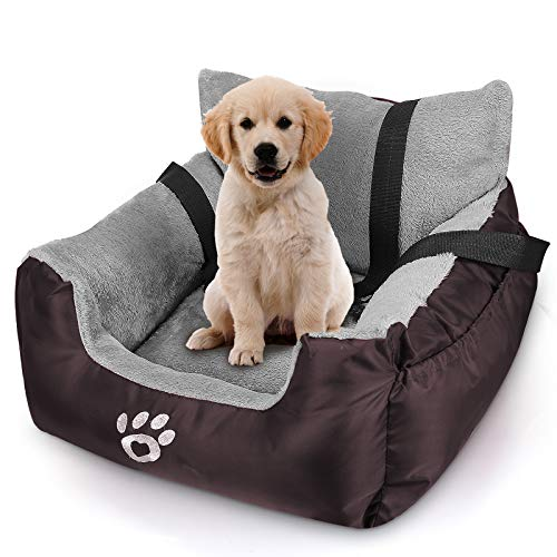 FAREYY Dog Car Seat for Small Dogs or Cats, Pet Booster Seat Travel Dog Car Bed with Storage Pocket and Clip-On Safety Leash, Washable Warm Plush Dog Car Safety Seats (Brown)