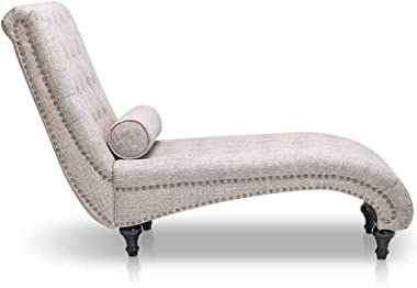 ONPNO Chaise Lounge Chair, Indoor Leisure Sofa Nail Tufted Fabric Single Sofa for Bedroom, Office, Living Room Beige W/ 1 Bol