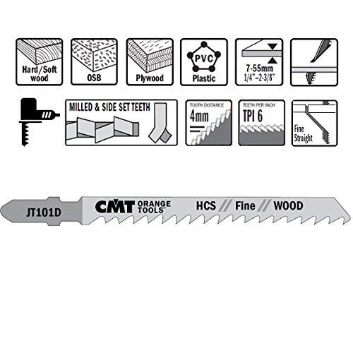 CMT : 5 lames scie sauteuse coupe droite bois panneaux JT101D-5