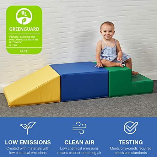 SoftScape Toddler Playtime Climber, Indoor Active Play Structure for Toddlers and Kids, Safe Soft Foam for Crawling and Sliding (3-Piece Set) - Assorted