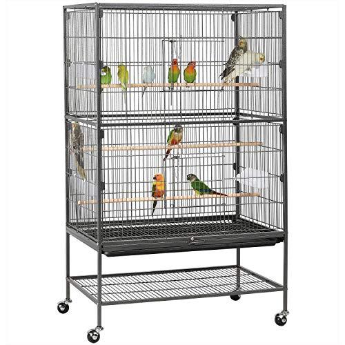 Yaheetech Gabbia Voliera per Pappagalli Uccelli Grandi Inseparabili Calopsite con Piedistallo Ruote in Metallo e Legno da Interno e Esterno 78,3 x 52 x 132 cm Nera