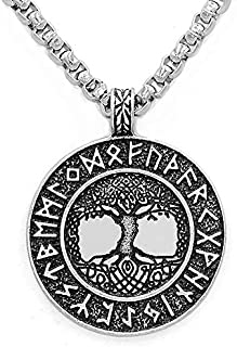 URDEAR Handcrafted Norse Viking Runes Amulet Pendant Necklace Nordic Talisman Jewelry Ornaments Tree of Life Pendant Necklace Gifts for Men Women Unisex
