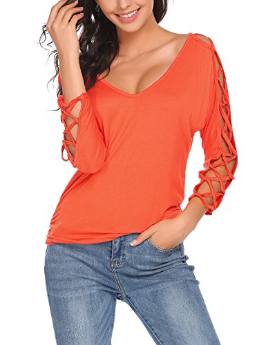 ELESOL Women Sexy V Neck 3 4 Sleeve T Shirts Loose Cut Out Shoulder Tops and Blouses Orange/L