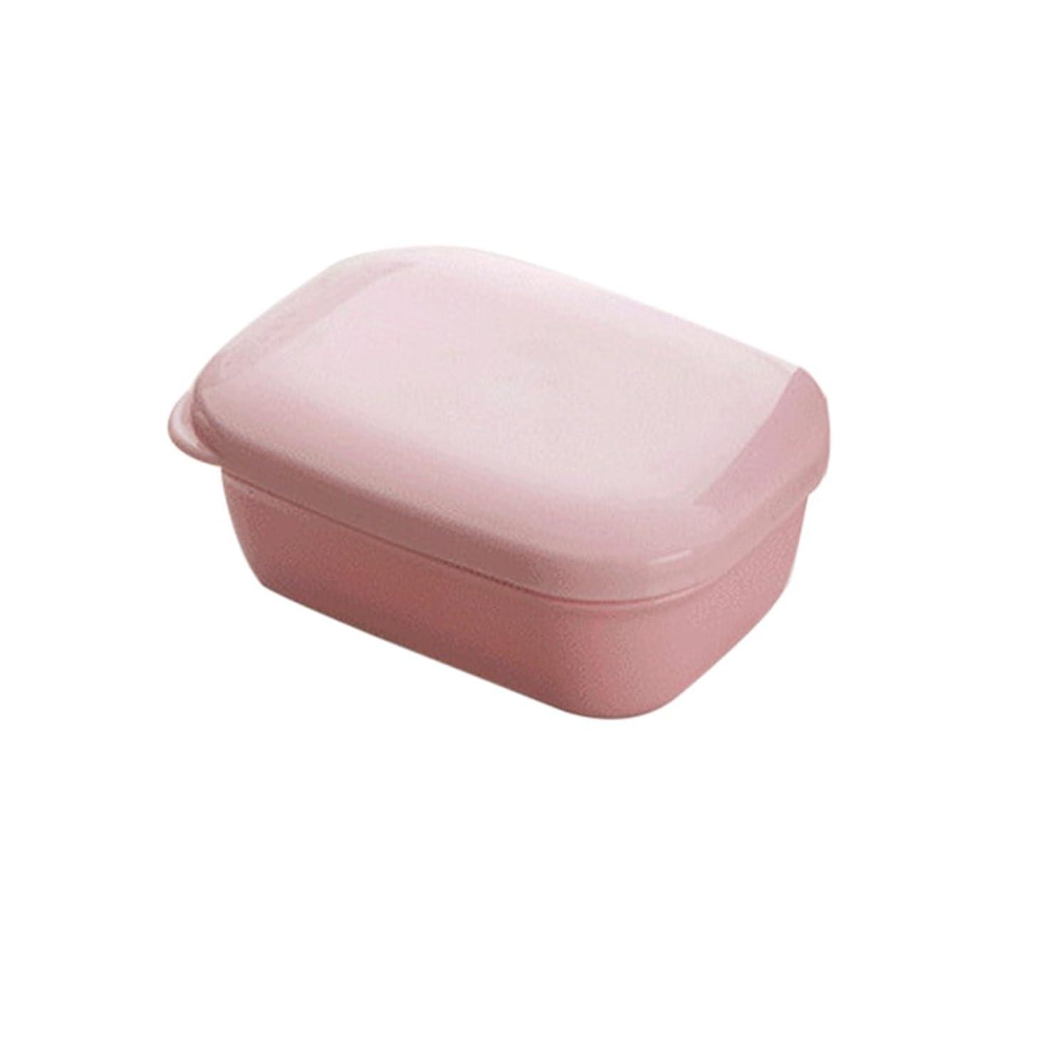 レール神経障害滝BESTOMZ 石鹸ケース 石鹸置き ソープディッシュ 旅行用 携帯 ふた付け(ピンク)