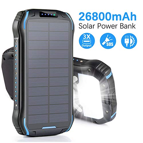 Aonidi Solar Charger 26800mAh Power Bank Portable Charger Battery Pack with 3 Outputs & 2 Inputs(Micro USB & Type-C) High Capacity Backup Battery Compatible Smartphone,Tablet and More