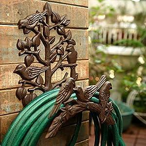 Sungmor Soporte para manguera de hierro fundido resistente, para jardín y patio, decoración de pájaros para montar en la…
