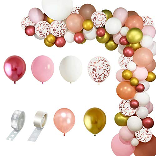 SWEETSMILE Rose Gold Pink Metallic Balloons Garland Arch Kit 83 PCS, White Gold Rose Gold Confetti Latex Balloons 18'' 12'' 10'' 5'' for Birthday Wedding Baby Shower Girl Party Decoration