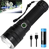 Rechargeable 10000 High Lumens Flashlights, Professional Tactical Led Flashlights with Battery, 4 Light Modes, Zoomable, IPX5 Waterproof Handheld Flashlight for Camping Emergency Outdoors