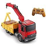 SXLCKJ Grúa de Control Remoto de 2.4G, grúa eléctrica montada en camión, vehículo de construcción para niños, simulación de Coche de Juguete, montado en camión