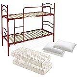 letto a castello rosso con rete a doghe completo di 2 materassi e 2 guanciali
