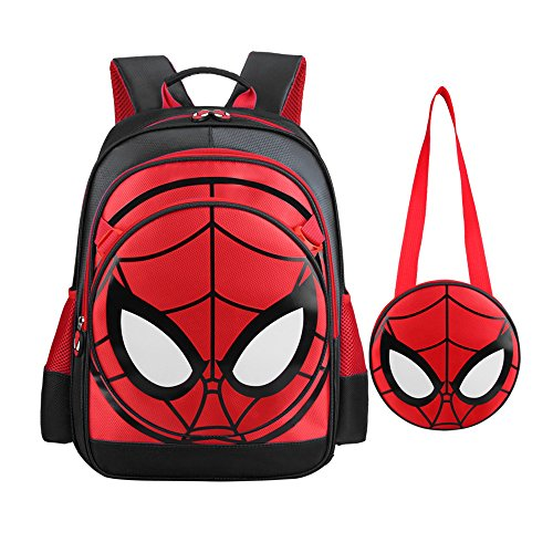 SUNBABY Boys' Backpack Spiderman Fans Gift Waterproof Comic School Bag With Lunch Kit...