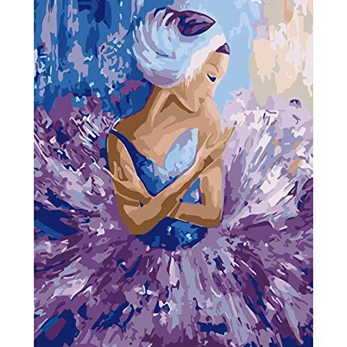 SiJOO Digitale Malerei DIY40x50 lila Rock Ballerina Mädchen Zeichnung Tuch Hochzeit Art Deco Bild Geschenk