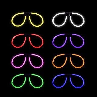 Lumistick Aviator Glow Eyeglasses | Light Up Neon Glow Eyewear | Illuminating Eye-catching Party Wear | Non-Toxic & Kids Safe Light Up Fluorescent Specs with Connectors (Assorted, 50 Eyeglasses)