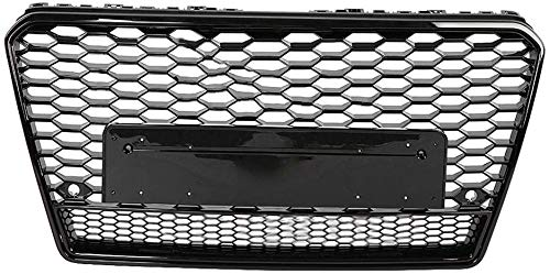 Zaaqio Bumper Grille, For RS7 Style Front Sports Hex Mesh Honeycomb Hoodgrill Gloss Black For A7 / S7 2011 2012 2013 2014 Car Accessories