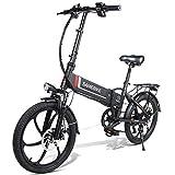 Fafrees [EU Stock] Bicicleta Eléctrica Plegable Inteligente 48V 350W LCD Bicicleta Eléctrica Ciclomotor Neumático de 20 Pulgadas (Carga USB 2.0 + Función de Alarma Antirrobo Remota) (Negro)