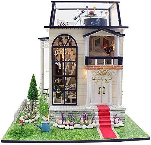 ANGION Maison De Poupée Maison De Poupée Grand Meubles Bricolage 3D en Bois Miniaturas Maison De Poupée Kits De Construction Jouets pour Enfants Cadeaux d'anniversaire