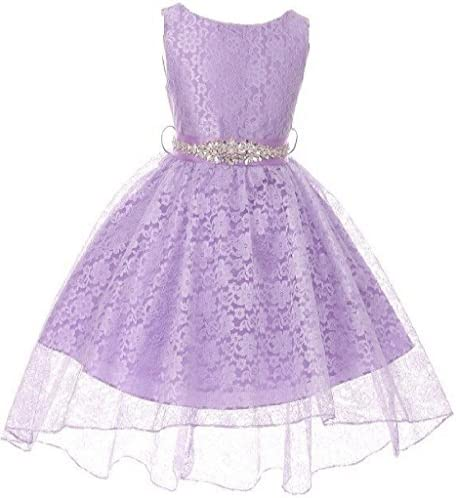 Big Girls Floral Lace High Low Rhinestones Special Occasion Flower Girl Dress Lilac 12 M3B6K0CB product image