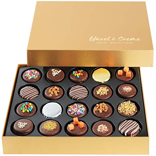 Hazel & Creme Gold Cookie Gift Box - Chocolate Box 20 - Gourmet Food Gift - Mothers Day, Birthdays,...