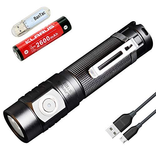 Klarus ST10 EDC Taschenlampe CREE XM-L2 U2 LED Max Leistung 1100 Lumen USB wiederaufladbare 18650 Taschenlampe wasserdichte Außenbeleuchtung Werkzeuge, mit 18650 2600 mAh Akku und USB Licht