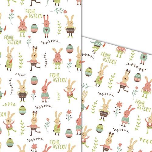 ArtUp.de 5 Bögen Osterpapier Geschenkpapier Oster-Einschlagpapier mit lustigen bunten Osterhasen in Pastellfarben für tolle Geschenke super DIY Bastelbögen Bogengröße DIN A2 42 x 59 cm