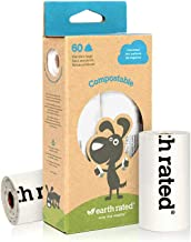 Earth Rated Compostable Dog Poop Bags, BPI-Approved, 60 Thick Poop Bags for Dogs Made From Vegetable Starch, Guaranteed Leak-proof, Unscented, 4 Refill Rolls, Each Pet Poop Bag Measures 9 x 13 Inches