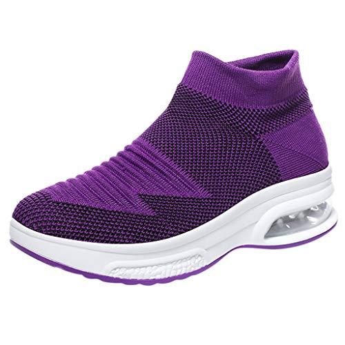 REALIKE Damen Socken Schuhe Laufschuhe Ultraleichte Dicke Sohle Atmungsaktiv Rutschfeste Sneaker Sportschuhe Turnschuhe für Männer 4 Farben 35-42 EU Running Schuhe Gym Outdoor Fitness