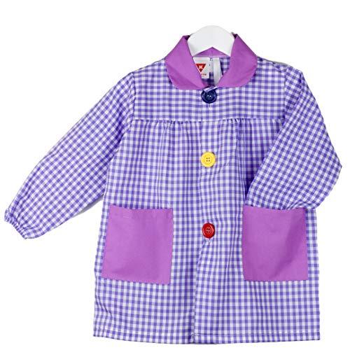 KLOTTZ - Babi cuadros guardería Bata escolar con botones y amplio colorido. Protección ropa en comedores y manulidades en casa. Niñas color: LILA talla: 3