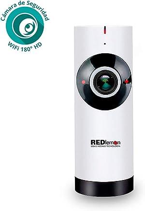 Redlemon Cámara de Seguridad WiFi IP con Lente Fish Eye 180° High Definition, Monitoreo en Tiempo Real, Detector de Movimiento, Visión Nocturna, Micrófono y Altavoz, Sonido Bidireccional, Ranura para Micro SD. Ideal para Hogar, Negocio y Monitor de Bebé.