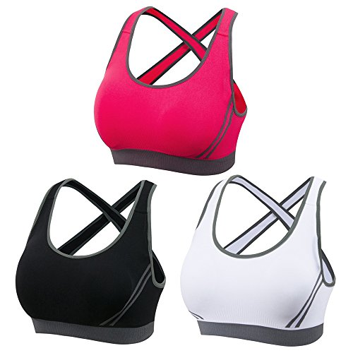 DODOING Women Jogging Sports Blockout Bra Vest Gymwear Fitness Crop top Yoga Exercise Tank Tops M Black Red White3 pack
