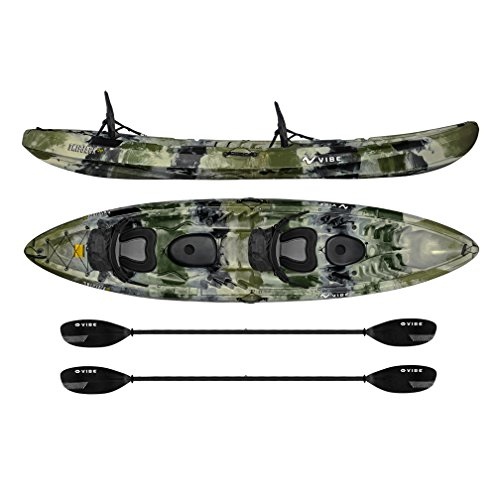 Vibe Kayaks Skipjack 120T 12 Foot Tandem Angler and Recreational Two Person Sit On Top Fishing Kayak with 2 Paddles and 2 Seats + Flush Rod Holders (Hunter Camo)