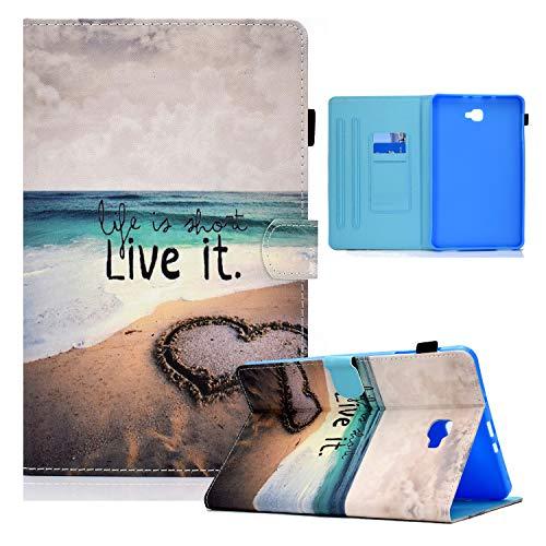 Auslbin Funda para Samsung Galaxy Tab A 10.1' T580/T585 Tablet,Ultra Slim PU Cuero Funda Flip Casos con Función de Soporte,con Auto Estela/Sueño y Ranuras de Tarjetas,Amor