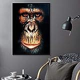 SXXRZA Póster de Arte 70 x 90 cm sin Marco Lindo Mono Blanco y Negro Selva Animal Gorila póster e impresión Pared Acuarela Giclee Fine Art Print