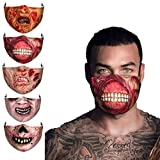 1PC 5PC Adult Fashion Scary Halloween Zombie Half Face Bandanas Reusable Face Macks Washable Covering Mouth Guard (5PC)