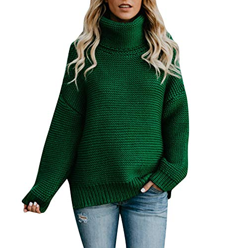 Women Solid Turtleneck Sweater Long Sleeve Loose Oversized Knitted Pullover Top(Green,X-Large)