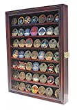 DisplayGifts Military Challenge Coin Display Case Cabinet Rack Poker Chips Holder Glass Door Lockable Mahogany Finish