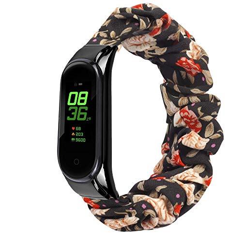 Mi-Case Elástica Watch Correa Compatible con Mi Band 5 Suave Elástica Correa para Mujer Niña Compatible con Xiaomi Mi Band 5 - Flores Silvestres
