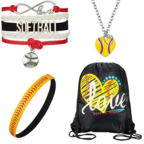4 Pieces Softball Girl Accessories Set, Softball Headband Softball Bracelet Softball Necklace Softball Drawstring Bag for Women Girls
