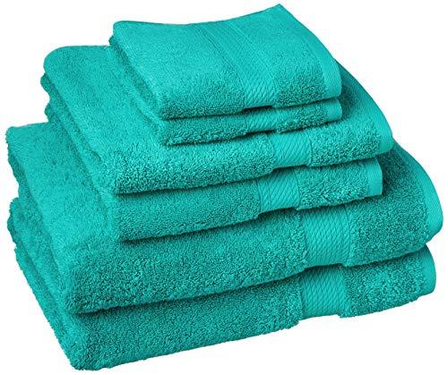 Superior Juego de Toallas de algodón Egipcio de Calidad, 6 Piezas, Turquesa, 10 Unidades