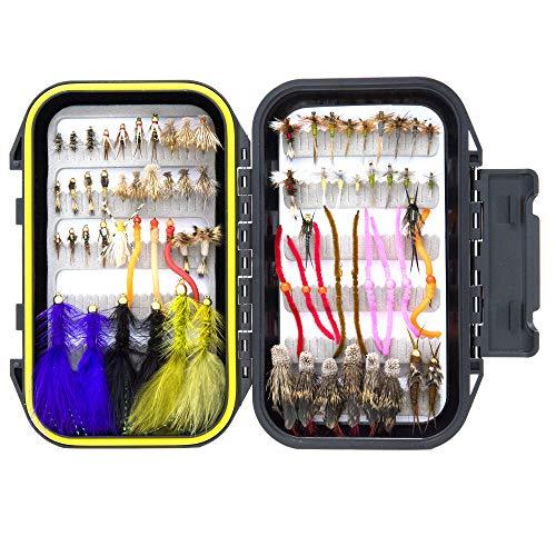72 verschiedene Forellenfliegen-Fliegen-Set | wasserdichte Fliegenfischbox | Nymphen-Fliegen, nasse Fliegen, trockene Fliegen, Luftschlangen, Hüpffliegen
