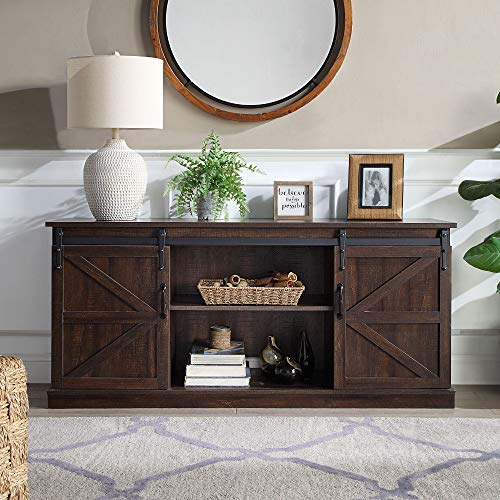 BELLEZE Modern Farmhouse TV Stand & Media Entertainment Center Console Table for TVs up to 65 Inch with Sliding Barn Door and Storage Cabinets - Truman (Espresso)