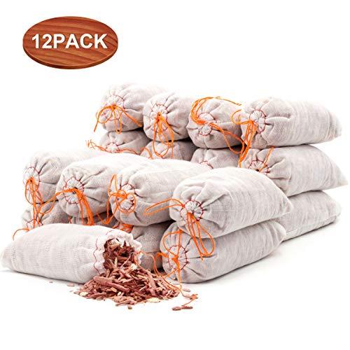 Coolrunner 12 Stück Zedernbeutel, 100% natürliches rotes Zedernholz Chips Beutel für Schränke, Schubladen, Schuhe, Kleidungsaufbewahrung